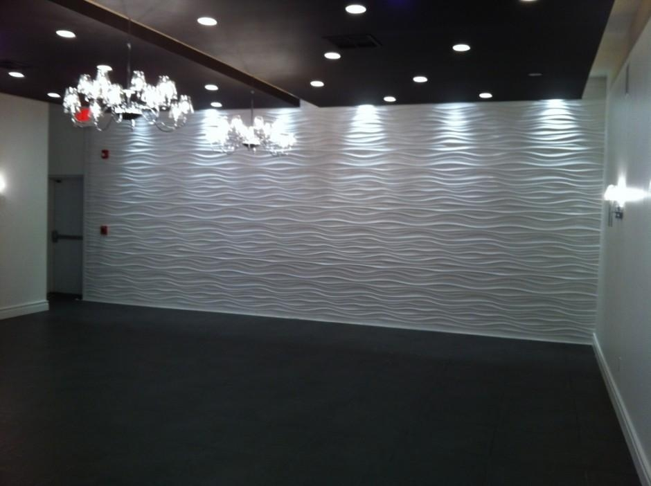 Elegant 3D Wave Shaped White Art Wall Panel Feature Black Flooring With Regard To Waves 3D Wall Art (Image 9 of 20)