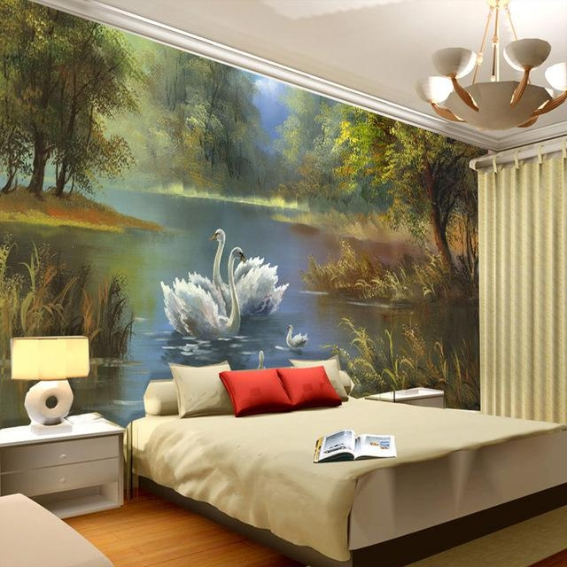 Elegant Swan Lake Wallpaper 3D Photo Wallpaper Custom Wall Murals For 3D Wall Art And Interiors (Image 12 of 20)