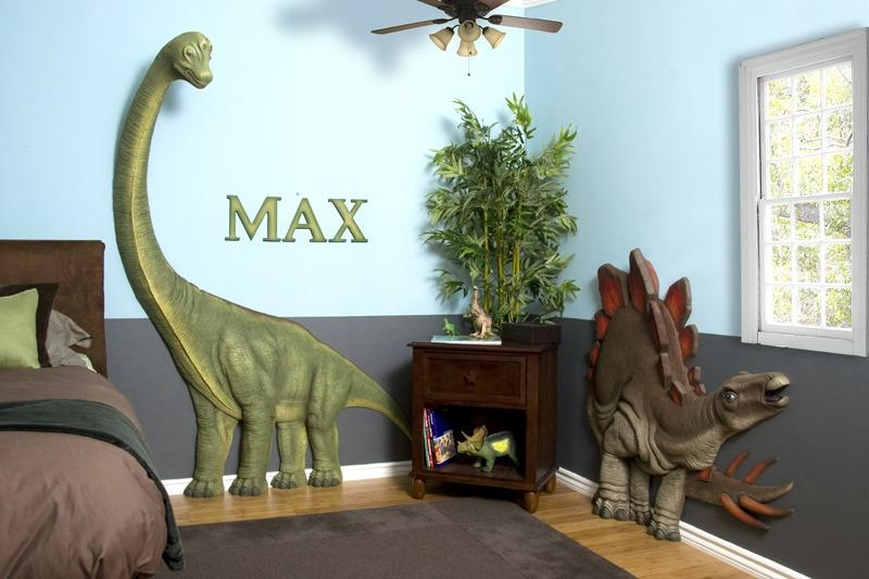 Enliven Your Kids Bedroom Dinosaur Themed Wall Art Murals Intended For 3D Dinosaur Wall Art Decor (Photo 9 of 20)