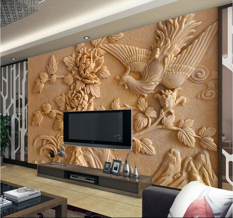 Europea 3D Wall Murals Wallpaper, Photo Relief Phoenix And Peony Pertaining To 3D Wall Art Wallpaper (Image 11 of 20)