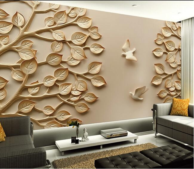 European Wallpaper Mural Large 3D Wall Paper Leaves For Tv Living Intended For 3D Wall Art Wallpaper (Image 12 of 20)