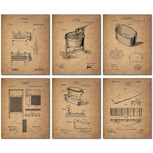Excellent Teal Brown Canvas Wall Art Laundry Room Patent Prints 3D Within 3D Little Brown Pony Wall Art Decor (Image 15 of 20)