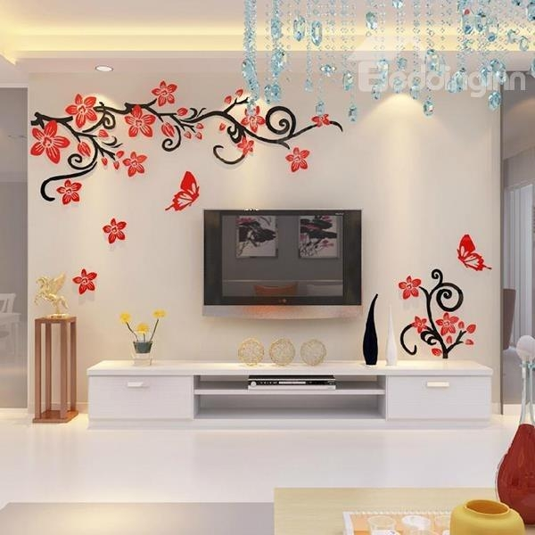Fabulous Acrylic 3D Flowers And Vines Tv Wall Bedroom 3D Wall Within Bedroom 3D Wall Art (Image 15 of 20)