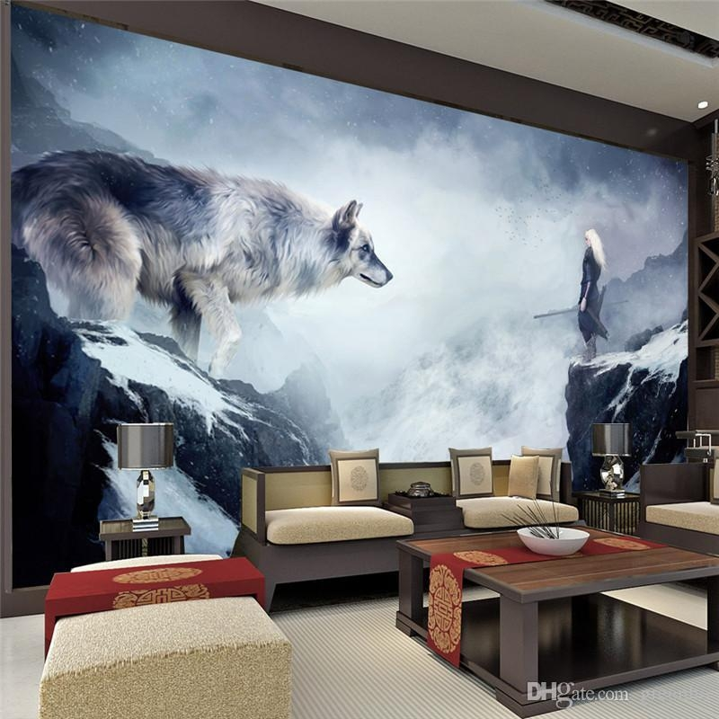 Fantasy Ice World Wolf Wallpaper Animal Photo Wallpaper Custom 3D Pertaining To Wolf 3D Wall Art (View 9 of 20)