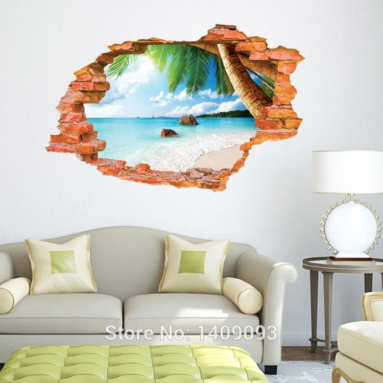 Fashion New Home Decor Sea Wall Sticker Brick 3D Effect Pastoral Within Vinyl 3D Wall Art (Image 14 of 20)