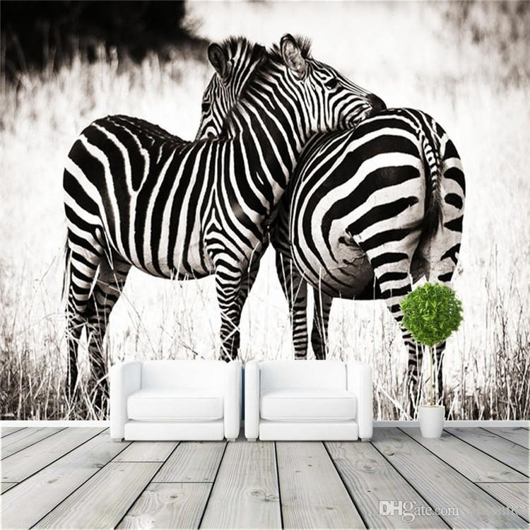 Fashion Photo Wallpaper Love Zebra Wall Mural Art Design Animal Throughout Zebra 3D Wall Art (Image 11 of 20)