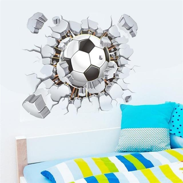 Flying Football 3D Wall Stickers Kids Room Decor Diy Home Decals Within Football 3D Wall Art (Image 8 of 20)