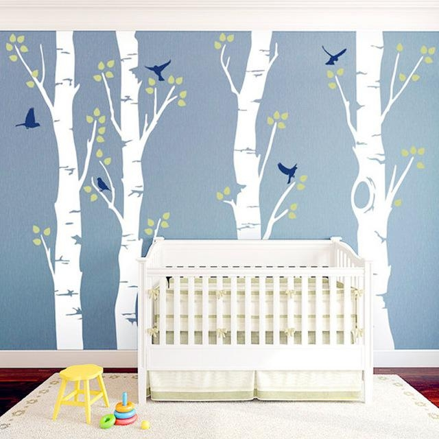 Four Trees And Birds Wall Art Baby's Growth Tree 3D Vinyl Wall In 3D Wall Art For Baby Nursery (Image 10 of 20)