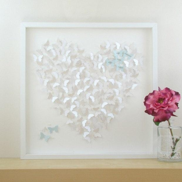 Framed Wall Art Personalised Framed Art. 3D Butterfly Heart Within Heart 3D Wall Art (Photo 20 of 20)
