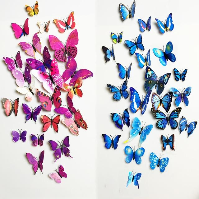 Free Shipping 12Pcs Pvc 3D Butterfly Wall Decor Cute Butterflies With 3D Butterfly Wall Art (View 12 of 20)