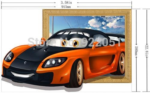 Free Shipping Cartoon Small Sports Car 3D Art Wall Decals Pertaining To Cars 3D Wall Art (View 20 of 20)