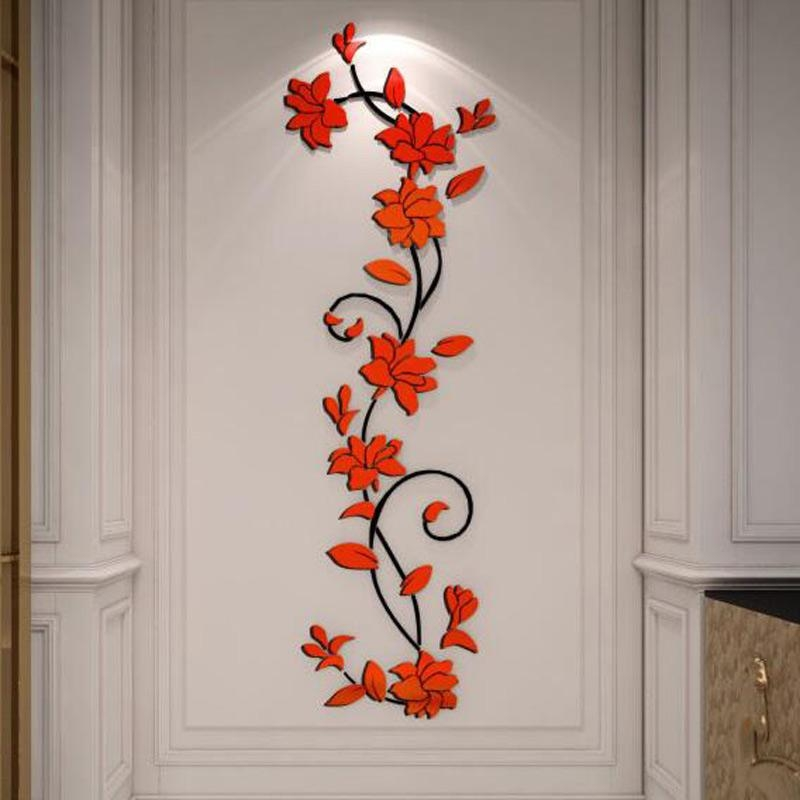 Free Shipping Flower Hot Sale Wall Stickers Home Decor 3D Wall Pertaining To Decorative 3D Wall Art Stickers (Image 16 of 20)