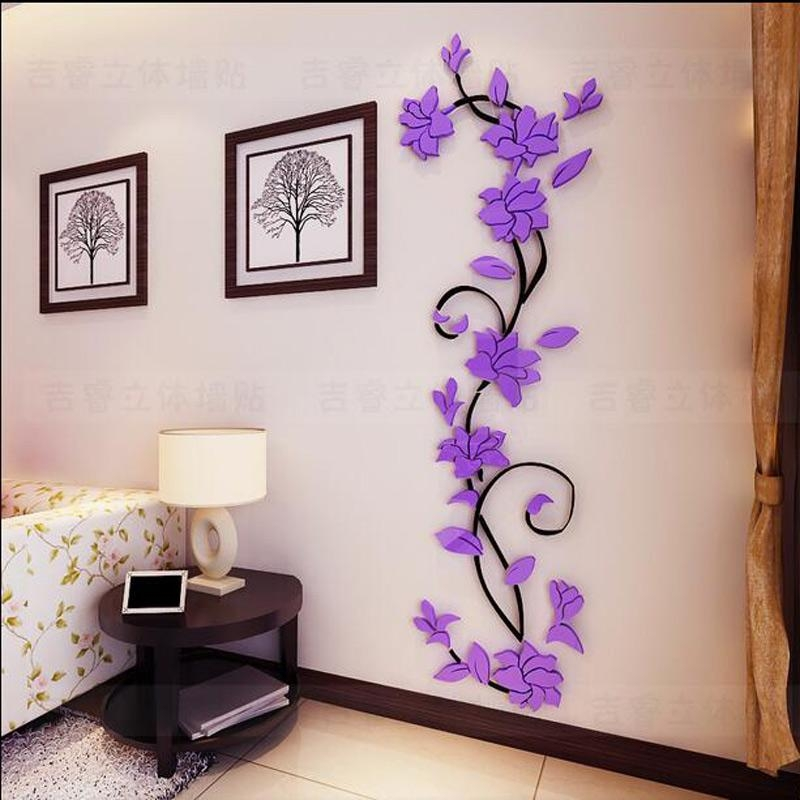 Free Shipping Flower Hot Sale Wall Stickers Home Decor 3D Wall Regarding Decorative 3D Wall Art Stickers (Photo 8 of 20)