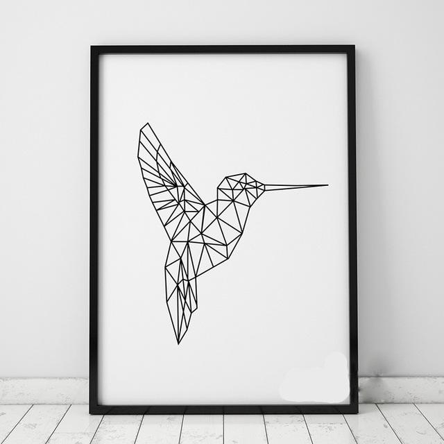 Geometric Birds Wall Stickers Decals Geometric Animals Kingfisher Throughout 3D Visual Wall Art (Image 13 of 20)