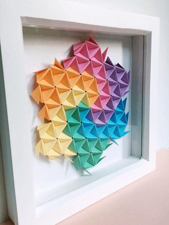 Geometric Origami Wall Art Modular Origami Art Origami Art Intended For 3D Triangle Wall Art (Image 13 of 20)