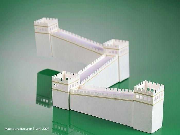 Great Wall Of China – Paper Model Of Great Wall12 – Wallcoo Throughout Great Wall Of China 3D Wall Art (View 8 of 20)