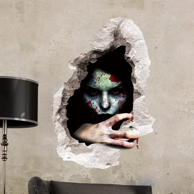 Halloween Bloody Wall Stickers Home Decoration 3D Effect Wall Within 3D Effect Wall Art (Image 11 of 20)