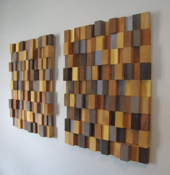 Handmade 3D Wooden Block Modern Wall Artheartlandvintageshop Intended For Wood 3D Wall Art (Image 5 of 20)