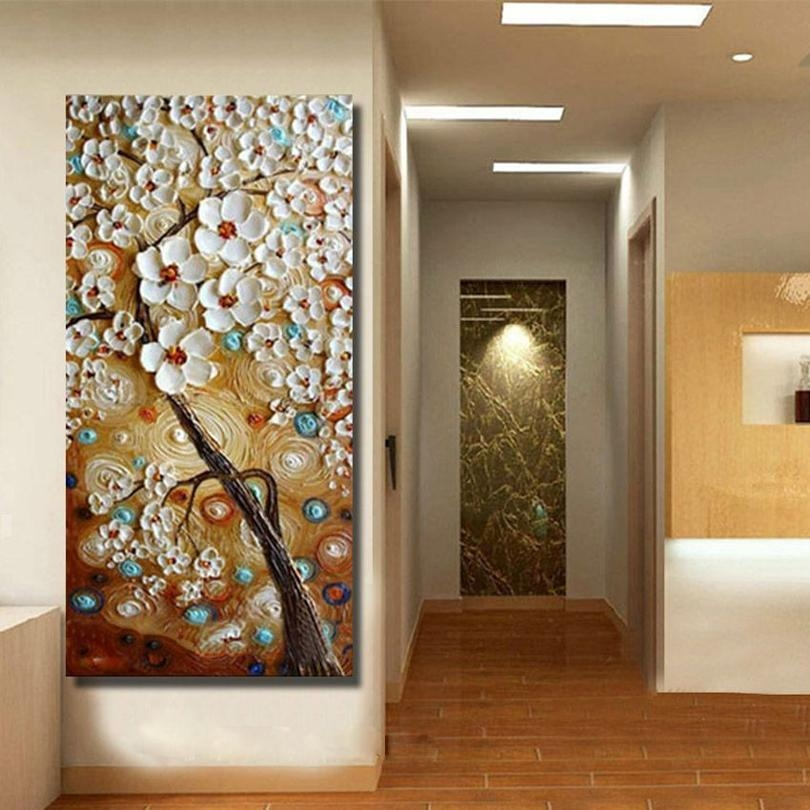 Handmade Modern Canvas On Oil Painting Palette Knife Tree 3D Within 3D Modern Wall Art (Image 10 of 20)