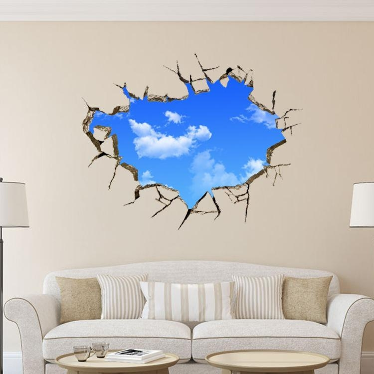 Hole Landscape Blue Sky White Cloud 3D Wall Sticker ,creative Home Pertaining To Vinyl 3D Wall Art (Image 15 of 20)
