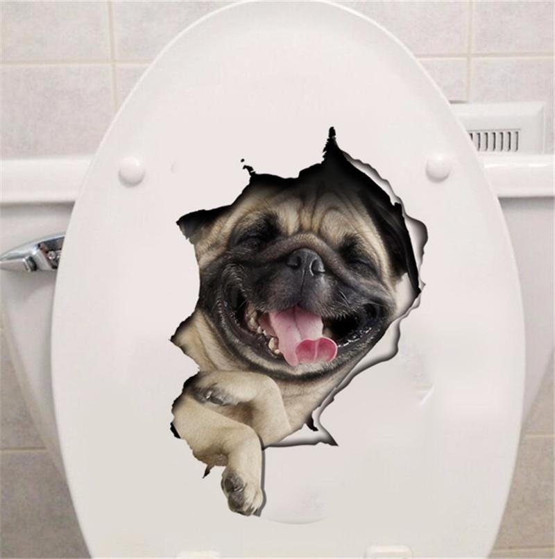 Hole View Vivid Dogs 3D Wall Sticker Bathroom Toilet Living Room Inside Dogs 3D Wall Art (Image 14 of 20)