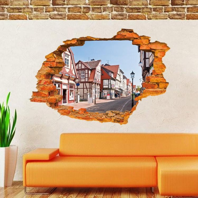 Home Decor Living Room 3D Brick Wall Sticker Creative Fashion Regarding 3D Brick Wall Art (Image 14 of 20)