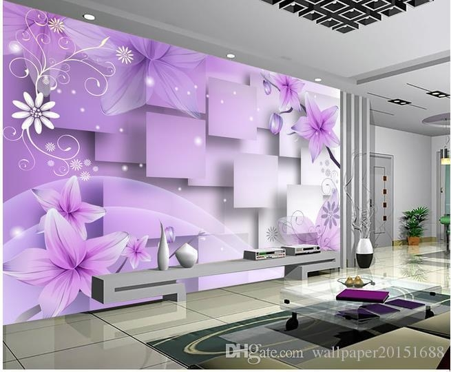 Home Decor Living Room Natural Art Purple Warm Flowers Tv Wall Regarding 3D Wall Art For Living Room (Image 17 of 20)