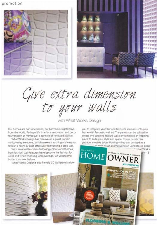 Home Owner South Africa Published Article About Wallart 3D Walls With Regard To South Africa Wall Art 3D (Image 9 of 20)
