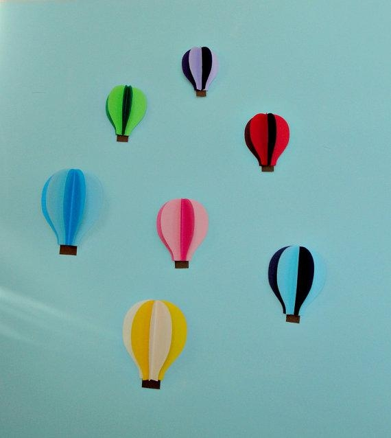 Hot Air Balloon 3D Paper Wall Art/wall Decor Within Air Balloon 3D Wall Art (View 3 of 20)