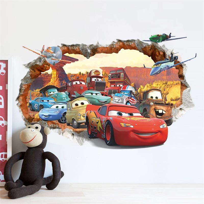 Hot Cartoon Through The Brick Pixar Car Wall Sticker For Kids In Cars 3D Wall Art (View 3 of 20)