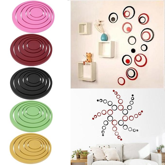 Hot Circles Stickers 5 Rings 3D Wall Art Decals Home Decor For Circles 3D Wall Art (Image 13 of 20)