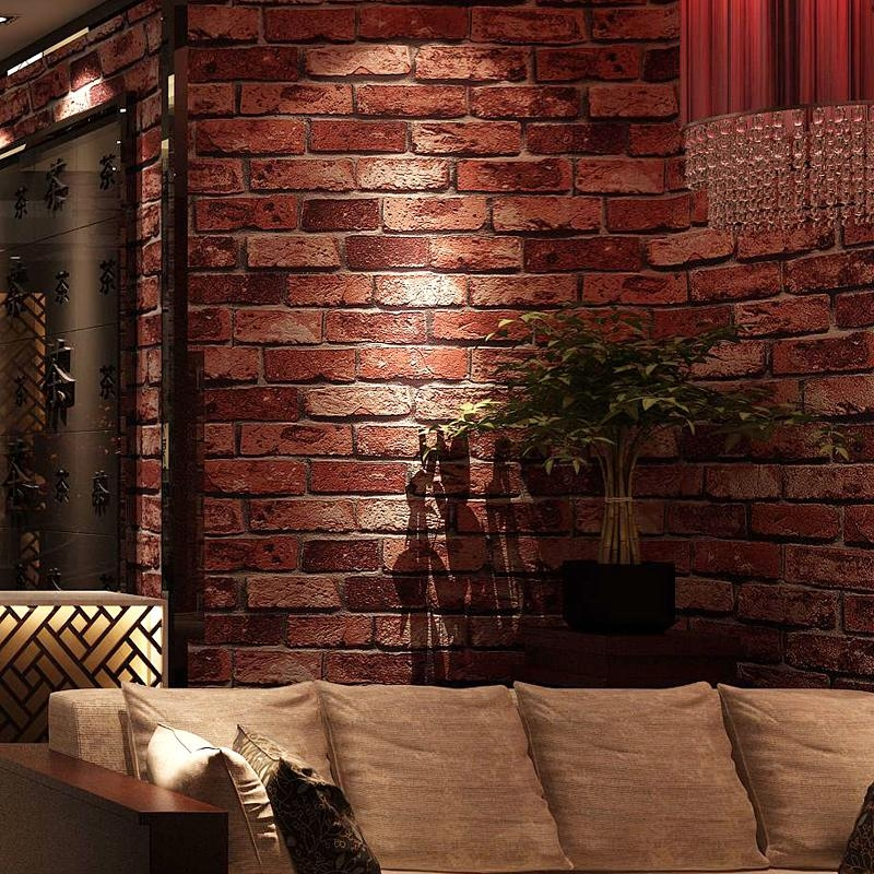 Hot Classic 3D Brick Stone Wallpaper Vinyl Pvc Washable Wall Art Inside 3D Brick Wall Art (Image 15 of 20)