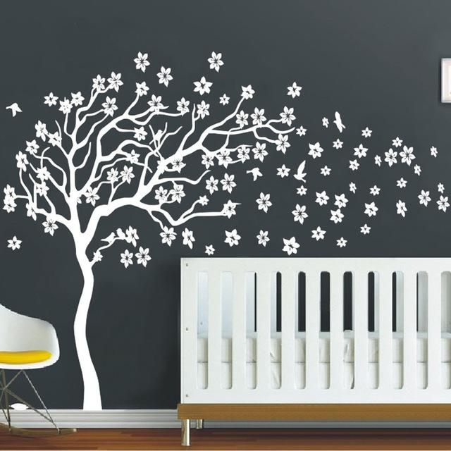 Huge White Tree Flowers Wall Decal Nursery Tree And Birds Wall Art Throughout 3D Wall Art For Baby Nursery (Image 11 of 20)