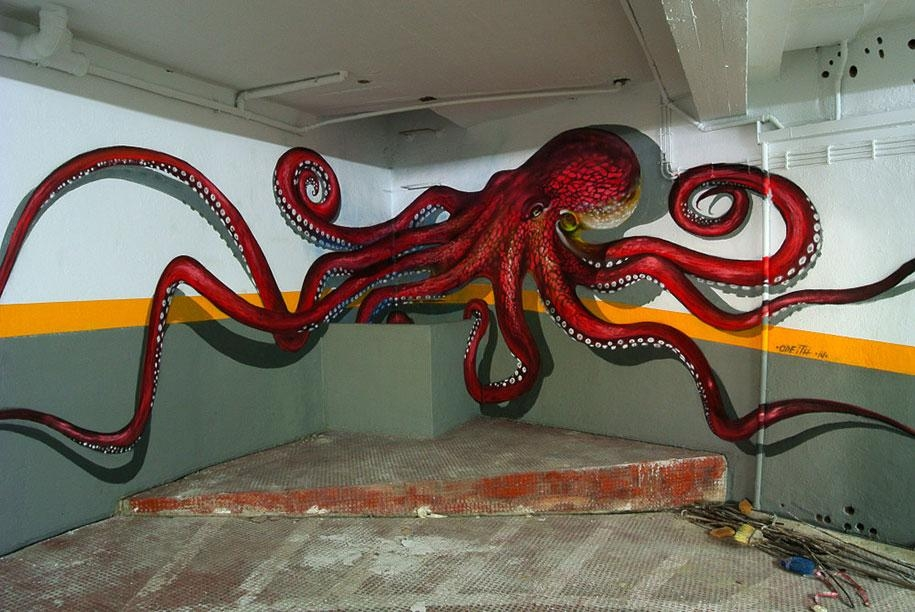Incredible 3D Graffiti Illusionsportuguese Artist Odeith Within 3D Wall Art Illusions (Image 13 of 20)