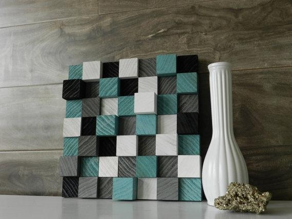 "Items Similar To Abstract Modern 3D Wood Wall Art 10"" X 10"" Wooden For Wood 3D Wall Art (Image 6 of 20)"