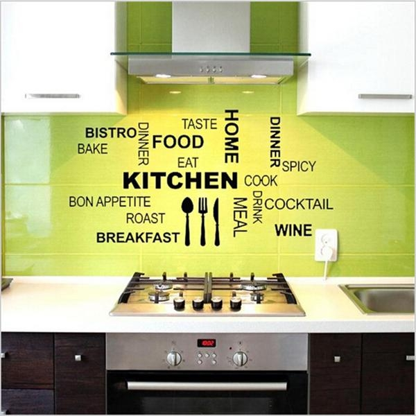 Knife Fork Spoon Creative Kitchen Wall Stickers Home Decor Art With 3D Wall Art For Kitchen (Image 17 of 20)