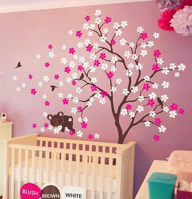 Koala Lying Blooms Beneath Wall Sticker Baby Bedroom Wall Art With Regard To Baby Nursery 3D Wall Art (Image 15 of 20)
