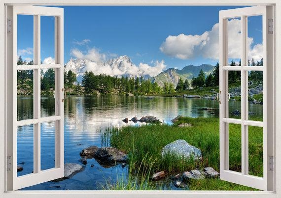 Lake Wall Stickers 3D Window Decor Lake Wall Sticker For Home Regarding 3D Wall Art Window (Image 11 of 20)