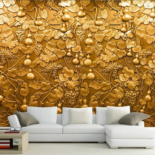 Large 3D Small Gourd Flower Wall Mural Photo Murals Wallpaper For Throughout 3D Wall Art Wallpaper (Image 13 of 20)