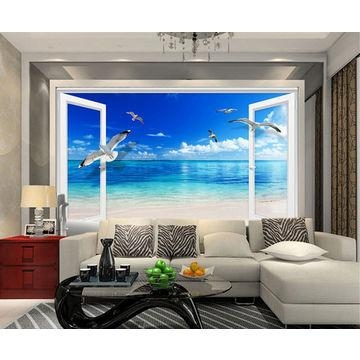 Large Beach Sea 3D Window Wall Sticker Home Decor Exotic Beach Pertaining To Beach 3D Wall Art (Image 13 of 20)