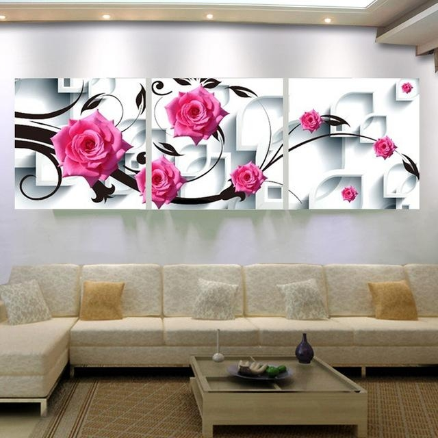 Large Canvas Wall Art Flower Canvas Painting 3D Rose Flower Wall Inside 3D Wall Art Canvas (Image 13 of 20)