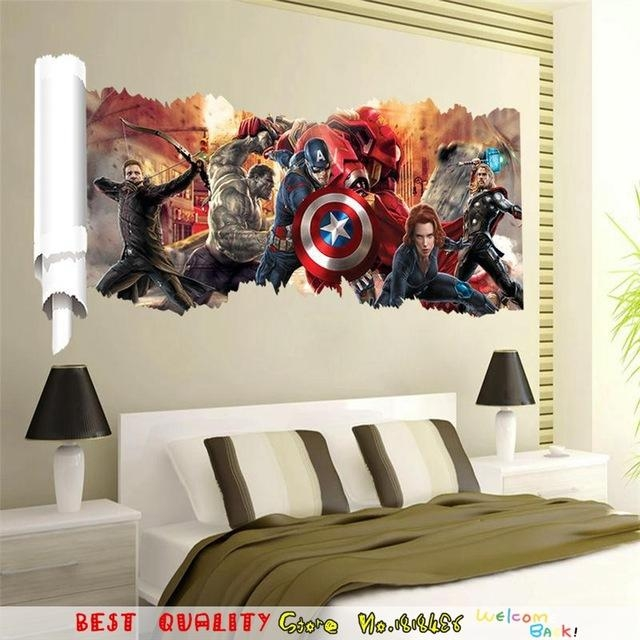 Large Marvel Wall Sticker 3D Avengers Captain America Thor Hulk Pertaining To Captain America 3D Wall Art (View 14 of 20)