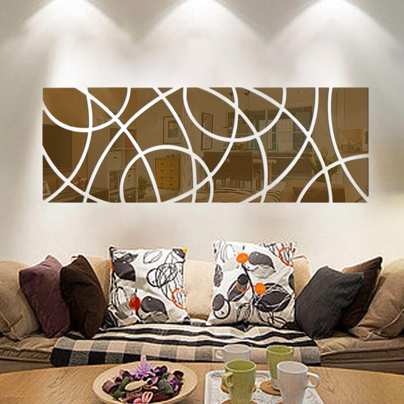 Large Size Decoration Wall Art Crystal Reflective Diy Mirror Within 3D Effect Wall Art (Image 12 of 20)
