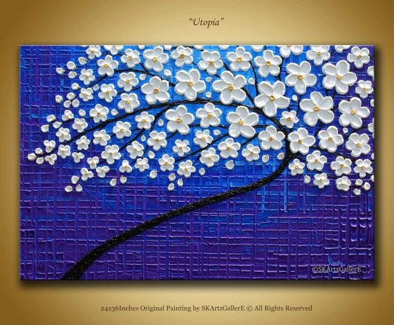 Large Textured Wall Art Original Tree Painting 3D Blue Inside Blossom White 3D Wall Art (Image 15 of 20)