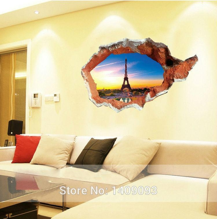 Latest New Fashion 3D Wall Stickers Vinyl Eiffel Tower Sunset For Vinyl 3D Wall Art (Image 16 of 20)