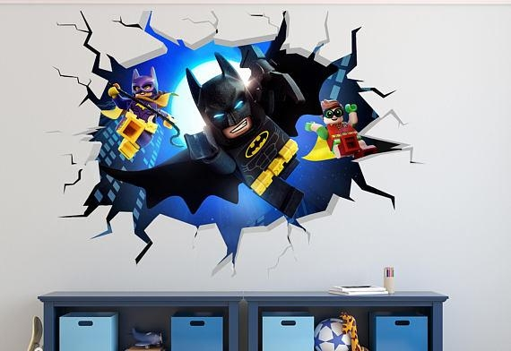 Lego Batman Smashed Wall Decal 3D Kids Sticker Art Decor Vinyl Intended For Batman 3D Wall Art (View 17 of 20)