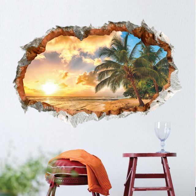 Lovespace 3D Windows Beach Sunshine Tree Coconut Palm Wall Sticker Throughout Space 3D Vinyl Wall Art (Image 7 of 20)