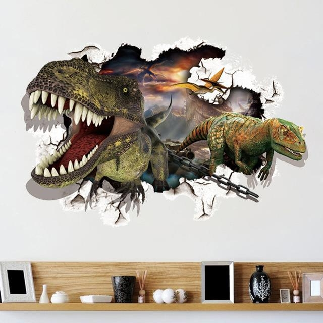 Maruoxuan Design Dinosaur 3D Wall Stickers For Kids Rooms Home Regarding Dinosaurs 3D Wall Art (Image 14 of 20)