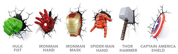 Marvel 3D Deco Superhero Wall Lights | Thinkgeek In Hulk Hand 3D Wall Art (Image 9 of 20)