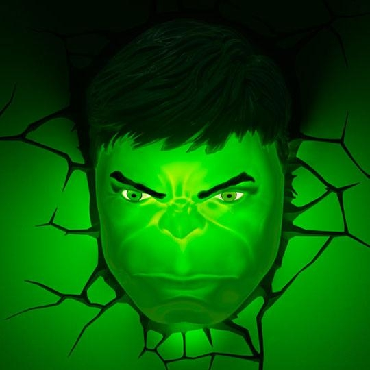 Marvel 3D Deco Superhero Wall Lights | Thinkgeek In Hulk Hand 3D Wall Art (Image 10 of 20)